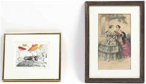 Seven Framed Decorative Articles, Height of largest 26