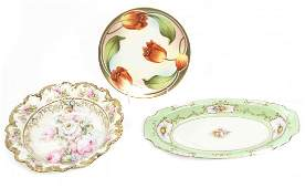 Three Continental Porcelain Articles Width of widest