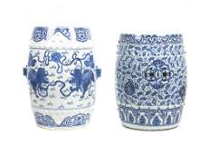Two Chinese Blue and White Ceramic Garden Seats, Height