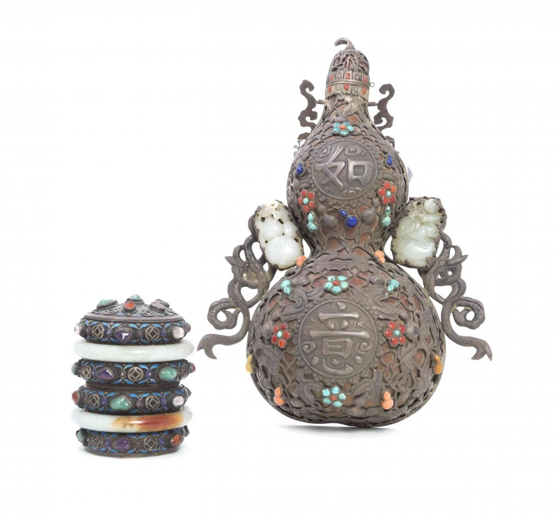 A Tibetan Double Gourd Silvered Metal Wall Vase, Height