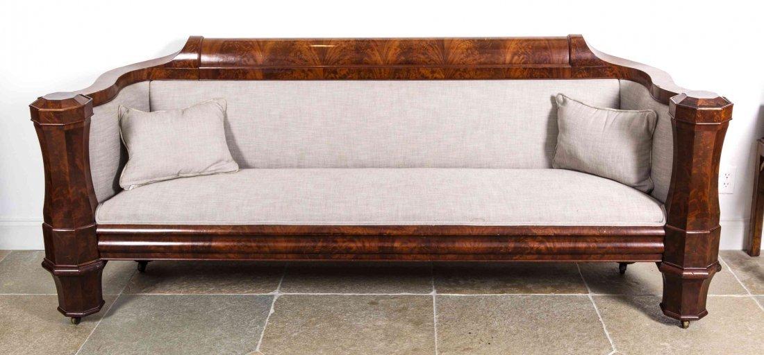 A Flame Mahogany Veneer Classical Sofa, New York, Heigh