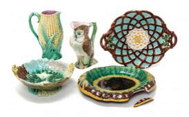 A Collection of Majolica Articles Height of larger 9