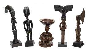A Group of Five African Carved Wood Figural Sculptures,