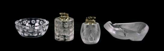 Four Lalique Molded and Frosted Glass Smoking Articles,