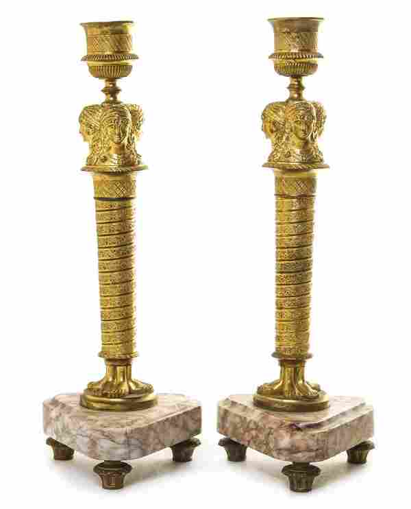 A Pair of Neoclassical Gilt Bronze and Marble