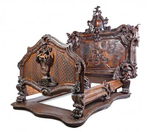 A Baroque Revival Carved Oak And Walnut Bed Height Of