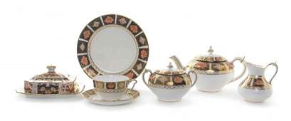 A Royal Crown Derby Porcelain Partial Tea Service,