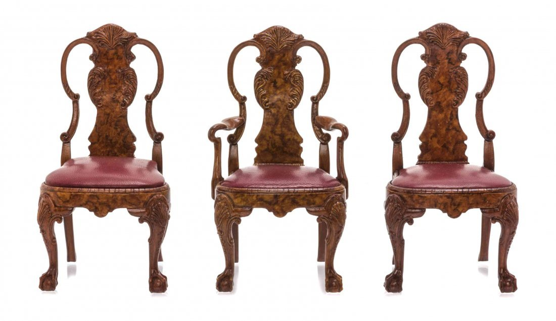 Three Queen Anne Style Resin Cast Chairs, JOHN HODGSON,