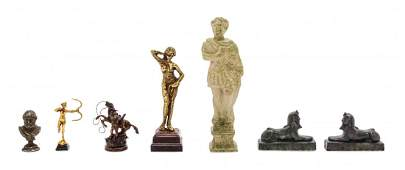 Seven Figural Articles Height of first 1 14 inches