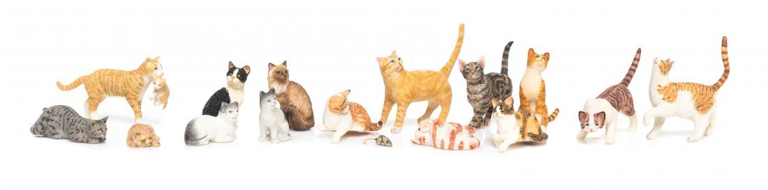 A Collection of Cats, Height of tallest 1 3/8 inches.