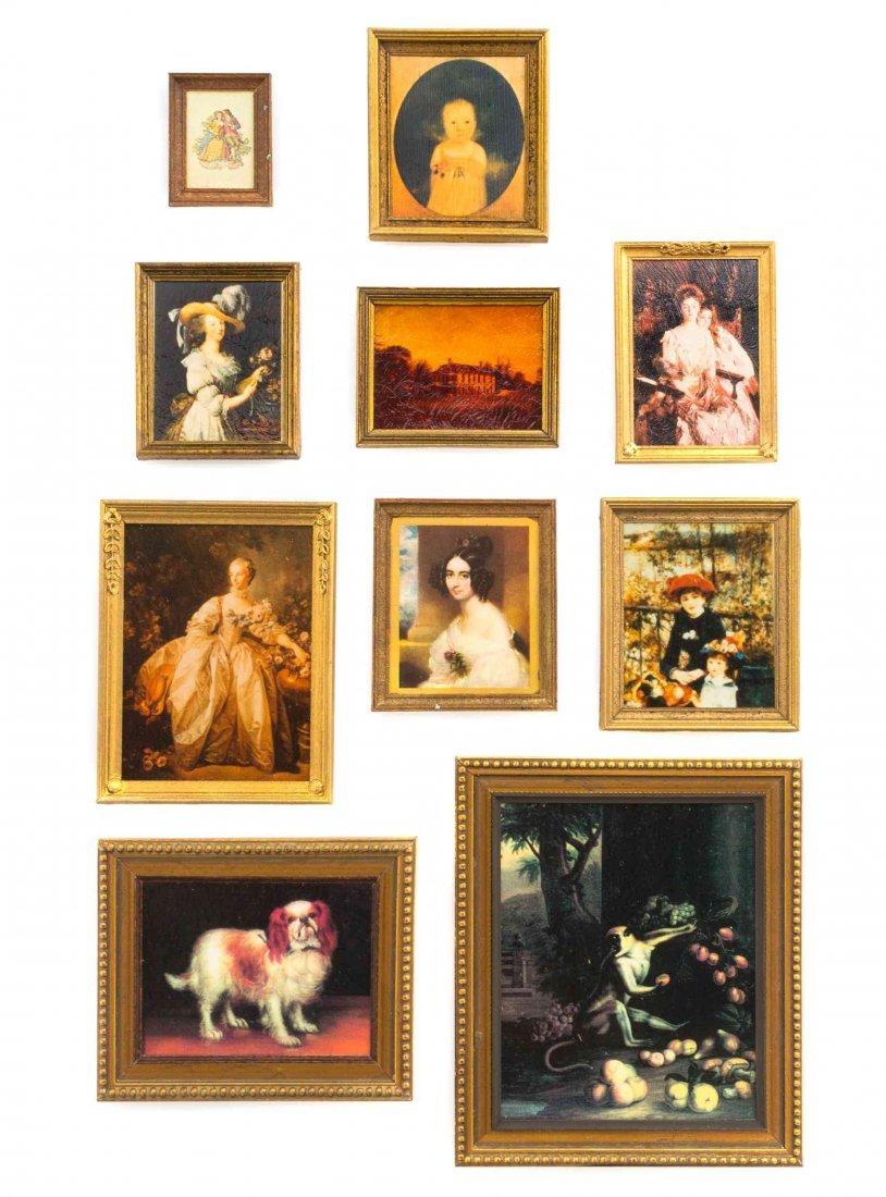 Ten Framed Decorative Articles Height of tallest 3 1/2