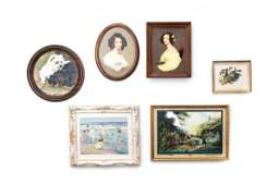 Six Framed Decorative Articles Height of first 1 58 x