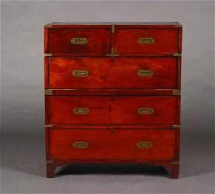A Brass-Bound Mahogany Campaign Chest,