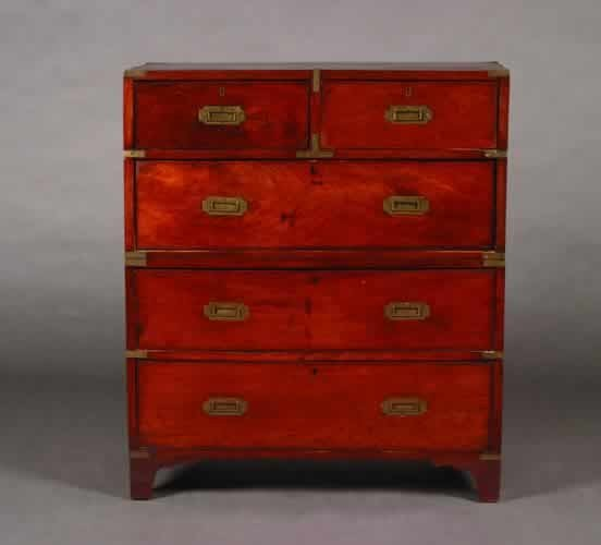 9: A Brass-Bound Mahogany Campaign Chest,