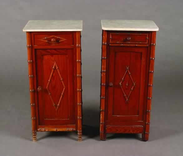 12: Two Pine and Faux Bamboo Side Cabinets,