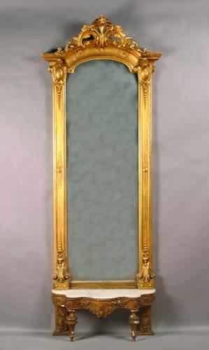 A Victorian Gilt Pier Mirror and Base,