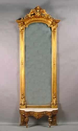 17: A Victorian Gilt Pier Mirror and Base,