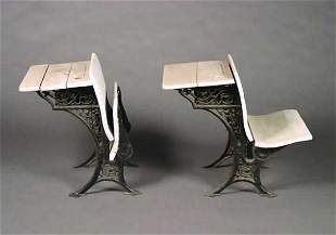 Two American Cast Iron and Painted Studen