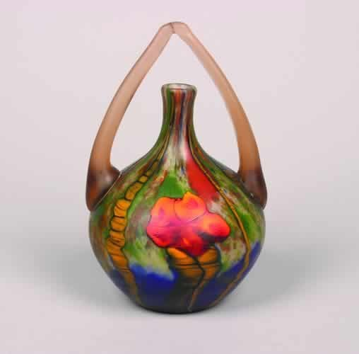 498: A Handled Glass Vase,