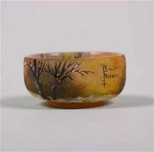 A Daum Etched and Enameled miniature bow