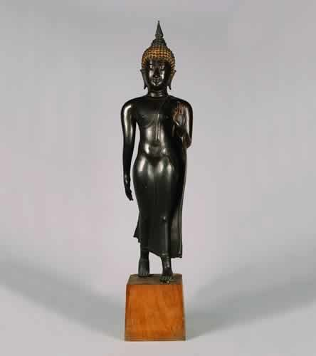 728: A Thai Bronze Figure of the Walking Budd