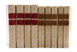 BINDINGS VELLUM Two sets of works in 9 vols