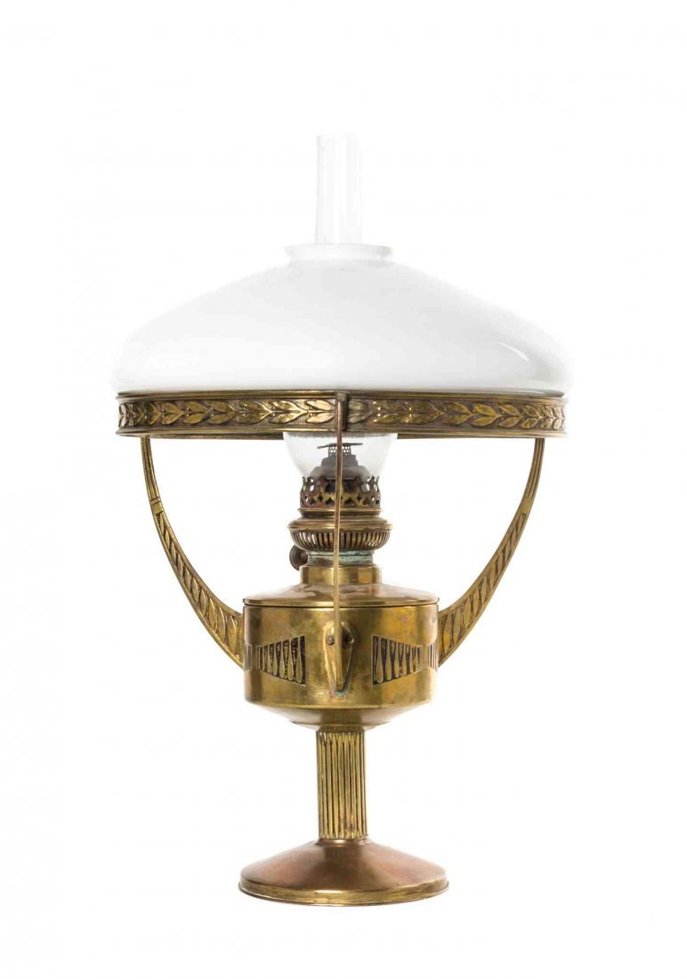An Art Deco Brass Fluid Lamp, Height 20 1/2 inches.