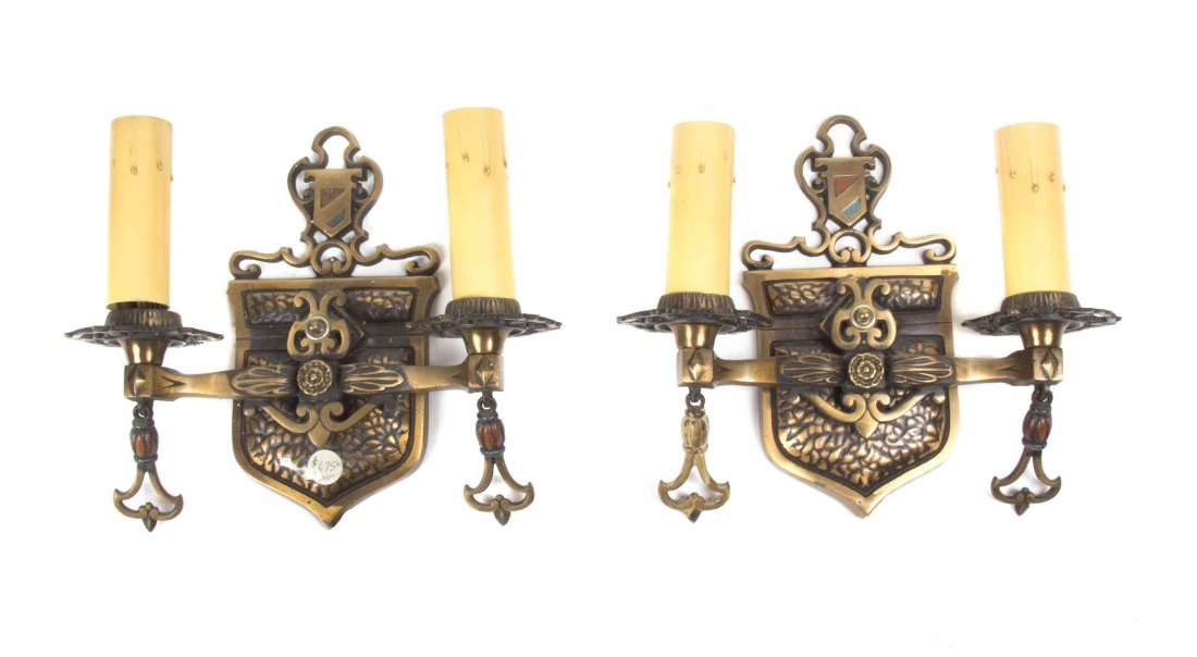 A Pair of Gilt Metal Two-Light Sconces, Height 9
