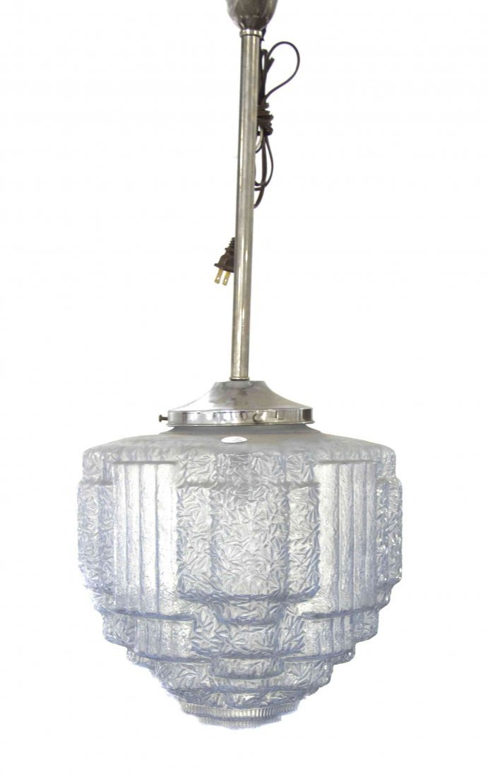 An Art Deco Style Molded Glass Lantern, Height overall