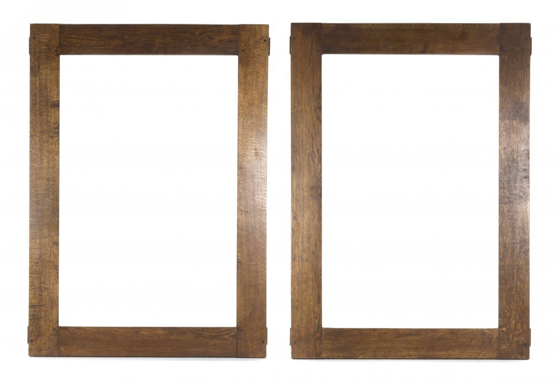 A Pair of Arts and Crafts Oak Frames, Height 43 1/4 x