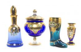 Four Bohemian Painted Glass Articles, Height of tallest