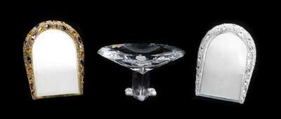 Three Swarovski Cut Glass Table Articles Height of