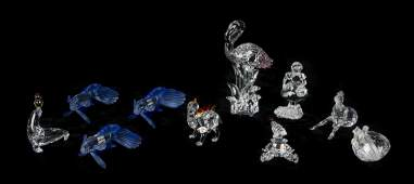 Ten Swarovski Cut Glass Articles Height of tallest 6