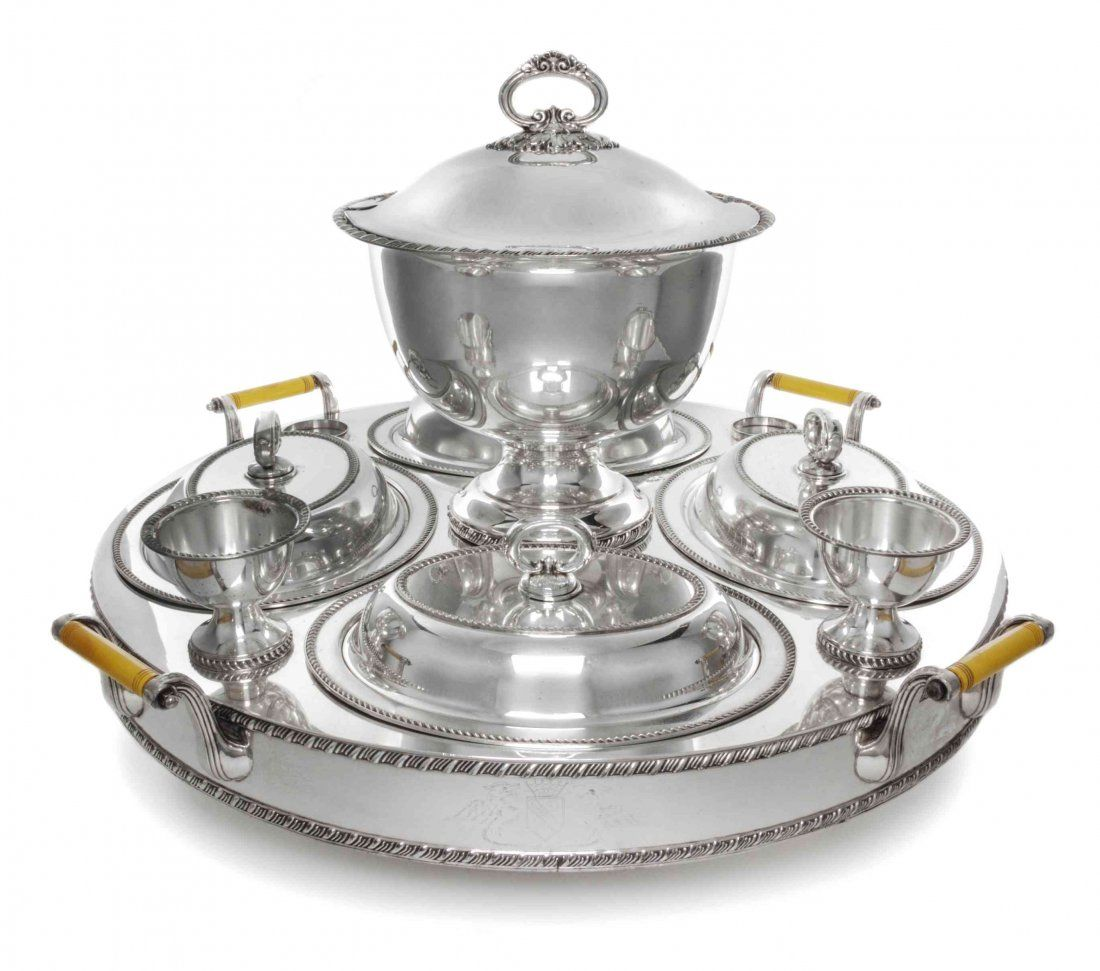 A Silver-Plate Supper Service Length of base over