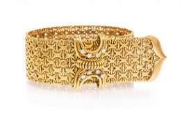 A Vintage Yellow Gold and Diamond Belt Bracelet 5450
