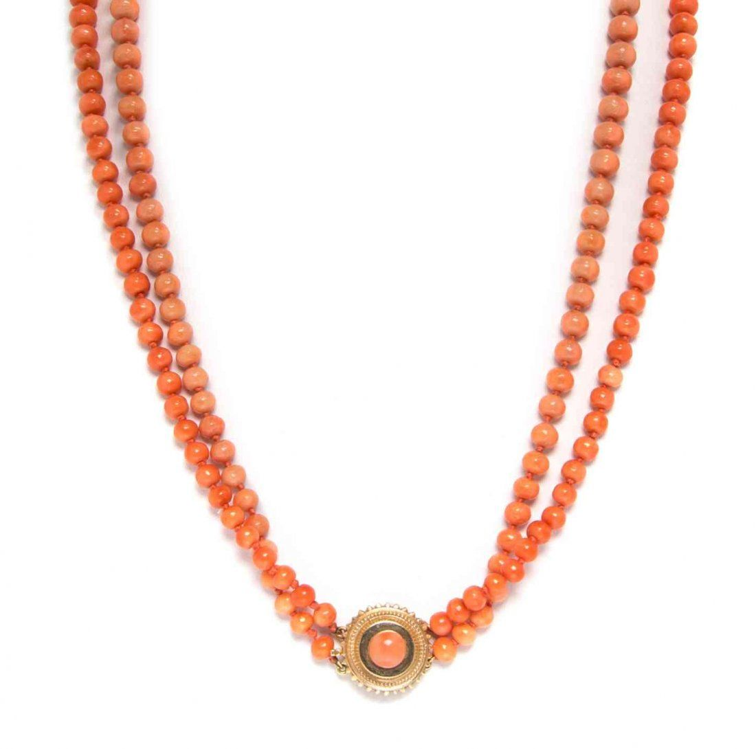 A Collection of Yellow Gold and Coral Jewelry, 33.20