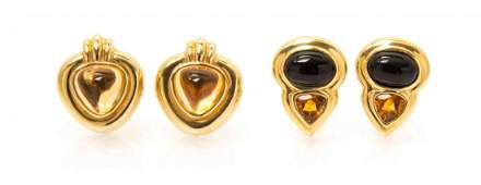 A Collection of 14 Karat Yellow Gold Citrine and Onyx