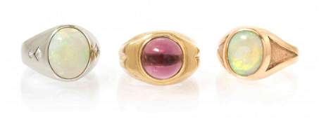 A Collection of Yellow Gold Platinum Opal Amethyst a