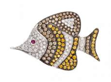 An 18 Karat White Gold Diamond and Multi Gem Fish