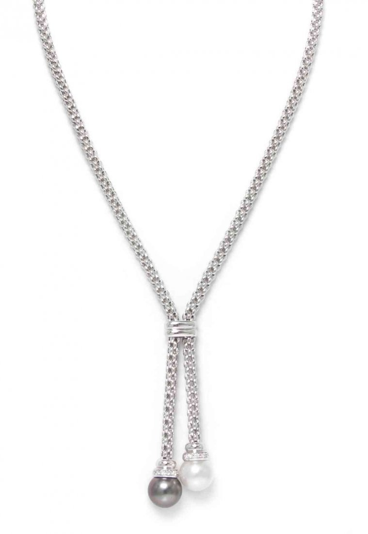 An 18 Karat White Gold, Cultured Pearl Necklace and