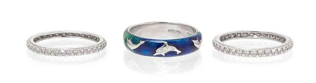 A Collection of White Gold, Polychrome Enamel and