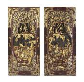 A Set of Ten Chinese Carved and Lacquered Wood Panels,