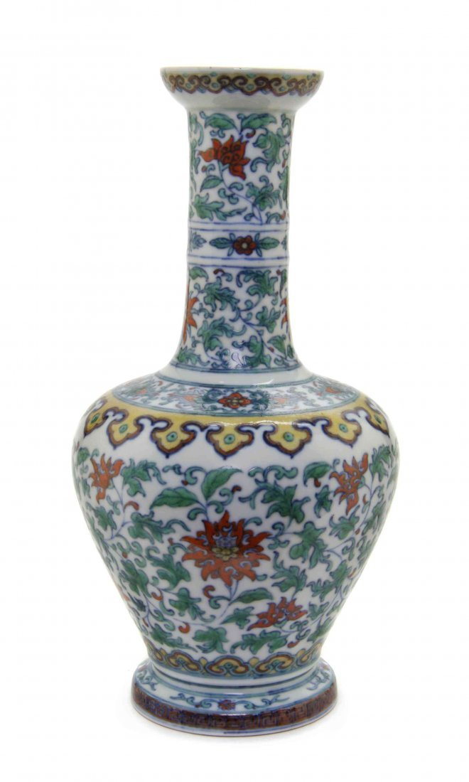 A Doucai Porcelain Bottle Vase, Height 10 1/2 inches.