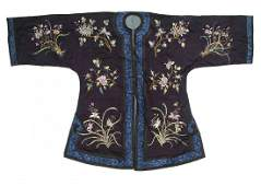 A Chinese Embroidered Silk Lady's Robe, Height 41