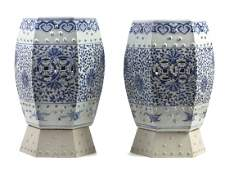A Pair of Chinese Blue and White Porcelain Garden