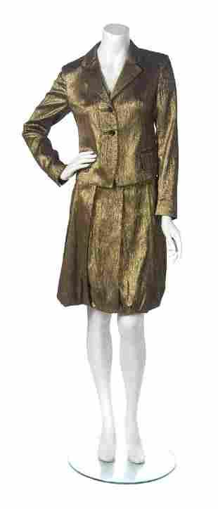 A Dries Van Noten Gold Metallic Skirt Suit, Jacket size