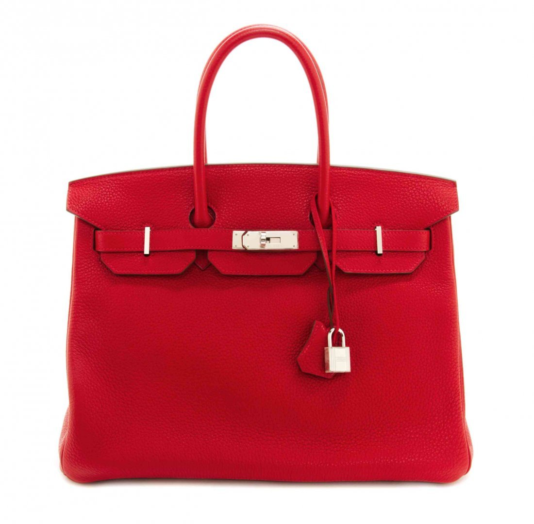 An Hermes 35cm Rouge Casaque Taurillon Clemence Leather