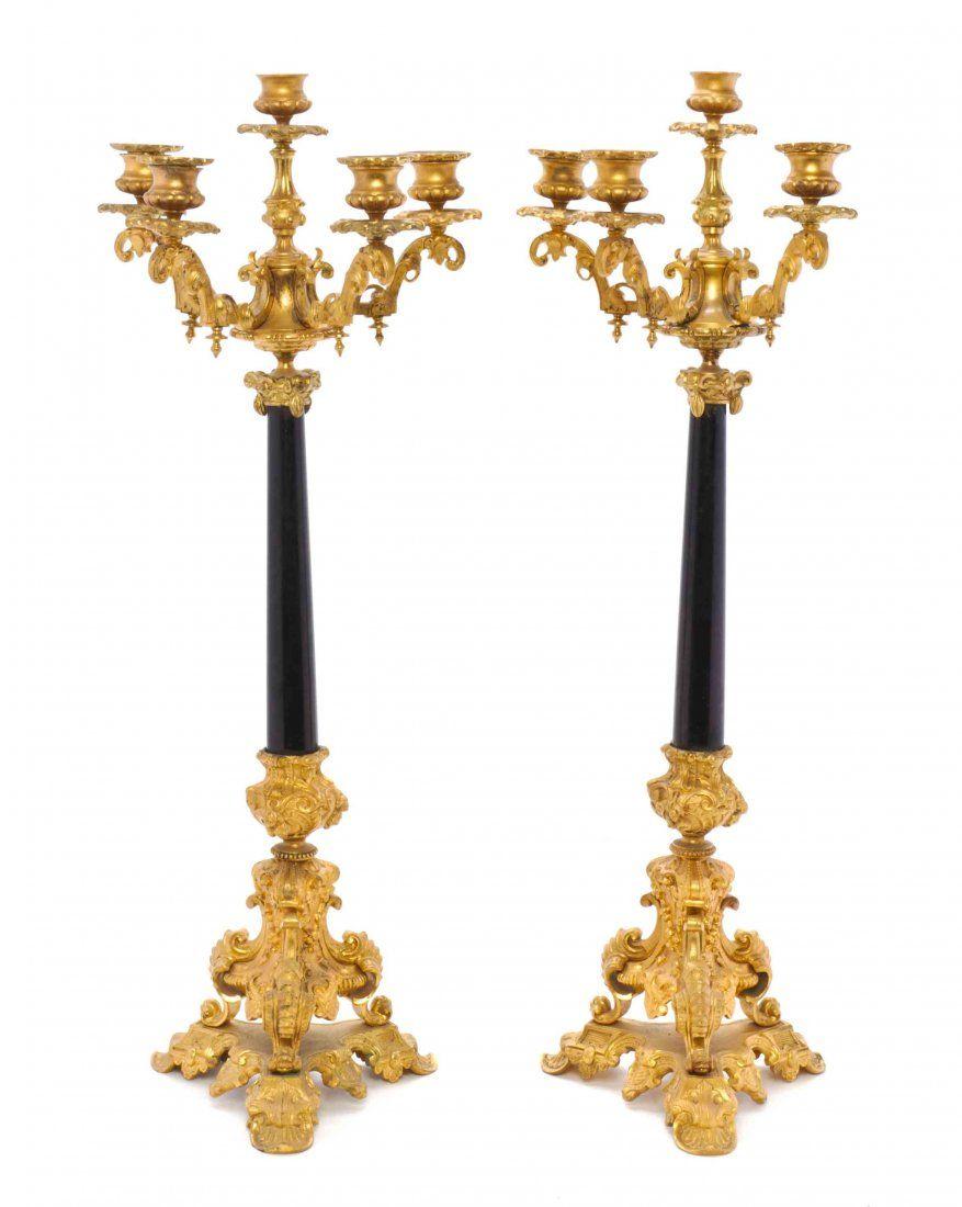 A Pair of Louis Phillipe Gilt Bronze Five-Light