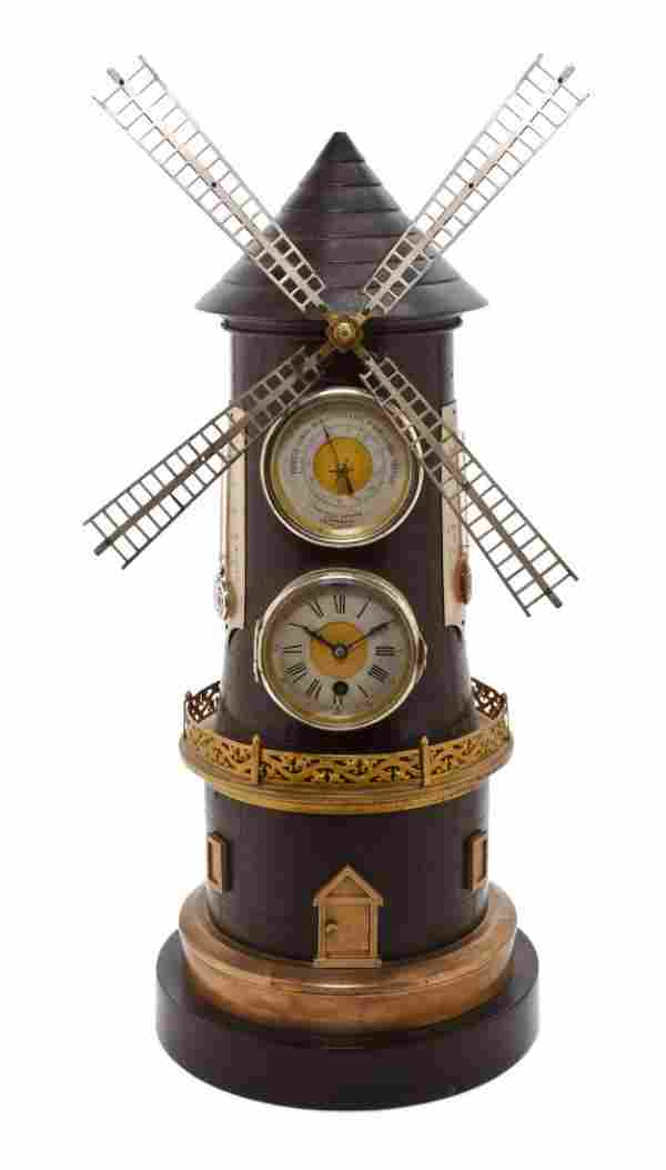 A French Bronze Industrial Clock and Barometer, Height