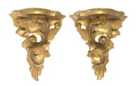 Two Pairs of Italian Giltwood Wall Brackets, Height of